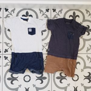 Set of 2 boys one piece outfits 9-12months